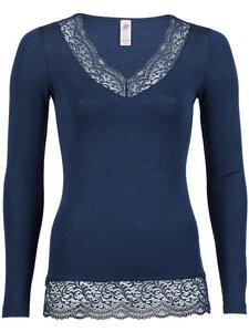 Engel Natur Damen Langarm-Shirt mit Spitze Bio-Wolle/Seide - Engel natur