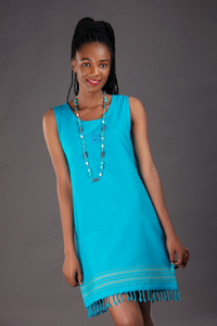 Kikoy Sommerkleid kurz, Strandkleid 'Jua' mit Sonnen Stickmuster, made in Kenia - Africulture