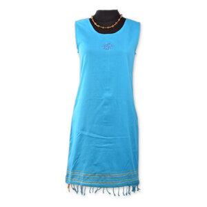 "Kikoy Sommerkleid kurz, Strandkleid ""Jua"" mit Sonnen Stickmuster, made in Kenia - Africulture"