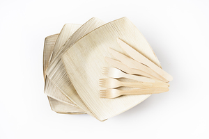 Leef-BBQ-Set, Palmblatt, 6 Teller, 6 Messer, 6 Gabeln, 20cm x 20cm x 4cm - Leef