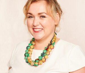 Halskette aus großen, runden Papierperlen mit afrikanischem Stoffband 'SONGKY CLOTH' - PEARLS OF AFRICA