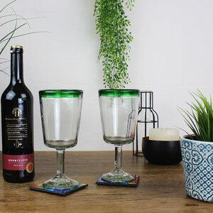 Cocktailgläser 2er Set grüner Rand, Mundgeblasene Gläser - Mitienda Shop