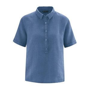 HempAge Damen Kurzarm-Bluse aus reinem Hanf - HempAge