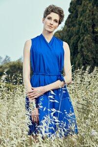 Wickelkleid Helen Blue - Wickelkleid Damenkleid aus Bio-Baumwolle - Sophia Schneider-Esleben