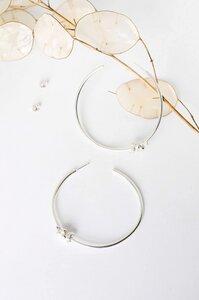 Creolen Ohrringe mit Blüten aus 925 Silber - Statement Chunky Granulated Hoops - - Wild Fawn Jewellery