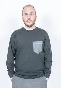 Shirt mit Brusttasche schwarz aus reiner Bio Baumwolle - Barbeck