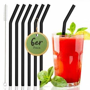 6 Stück geknickte Glasstrohhalme für Gastronomie, Events & Party - Skojig