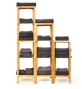 3er Set Standregale / Regale aus 100% Bambus Badregal - Bambuswald
