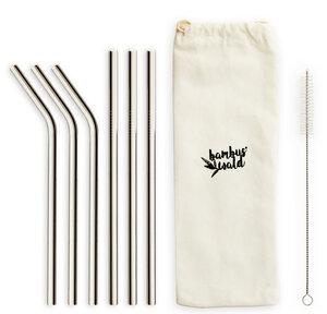 6x Metallstrohhalme Mixpackung (gerade & geknickt) inkl. Tragetasche & Reinigungsbürste - Skojig