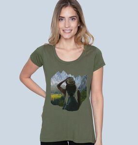"Damen T-Shirt aus Bio-Baumwolle ""Observing Nature"" in Blau oder Khaki - BeMoreMaverick"