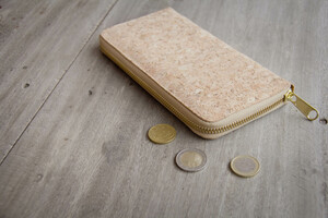 Portemonnaie - Vegan Cork Wallet, Brieftasche aus Kork mit Zipper - BY COPALA