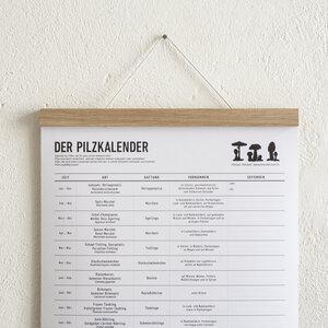 Set / Der Pilzkalender + Magnetische Posterleiste Eiche A3 - Kleinwaren / von Laufenberg