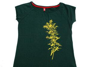 Frauenshirt 'Golden Sun' auf Tannengrün - Hirschkind