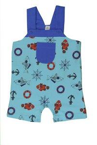 Baby Overall, blau mit Fischdruck - sense-organics