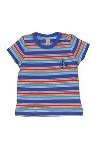 Baby T-Shirt, blau/rot geringelt - sense-organics