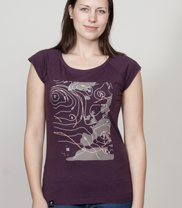 Bamboo Raglan Shirt Women Aubergine 'Weather' - SILBERFISCHER