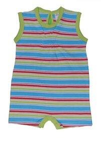 Baby Overall, blau/grün/rot geringelt - sense-organics