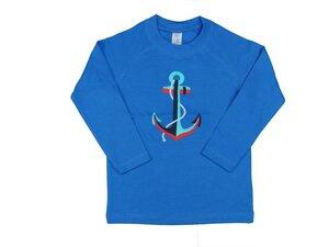 Kinder Langarmshirt blau mit Motiv - sense-organics