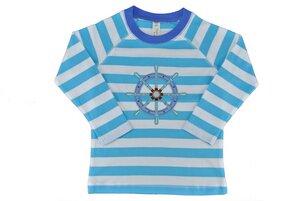 Kinder Langarmshirt weiss/blau mit Motiv - sense-organics