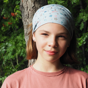 auffächerbares Haarband Blumen, Graublau - bingabonga®