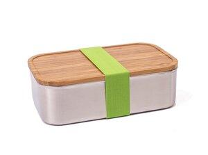 Premium Brotdose Edelstahl XL mit Holz-Deckel aus Bambus und Band in grün - tindobo