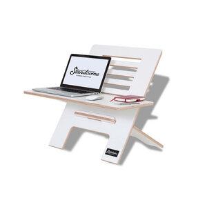 Standsome Slim White mit breiter Ebene - Stehschreibtisch-Aufsatz aus Holz - Standsome