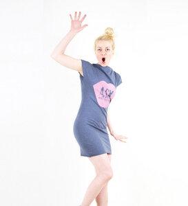 ASK MORE QUESTIONS - Kleid - blau meliert - Lena Schokolade