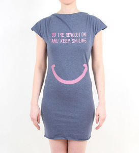 DO THE REVOLUTION AND KEEP SMILING - Kleid - blau meliert - Lena Schokolade