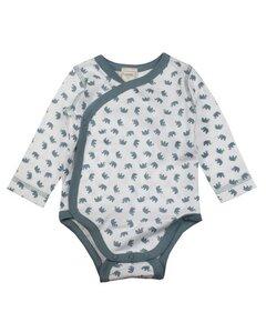 Baby Body Langarm weiss/blau mit Motiv - Lana naturalwear