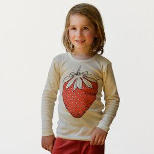 Kinder Langarmshirt Erdbeere natur - Cmig
