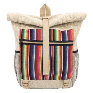 "Rolltop Rucksack Damen Herren beige/bunt Baumwolle Jute | seasara ""made by Sanu"" - seasara"