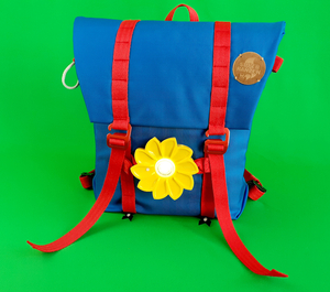 SCHULRUCKSACK DAYPACK SUPERRANZEN & LITTLE SUN Solar Sustainable School Start Bundle  Ocean Blue/ Coral Red - superranzen