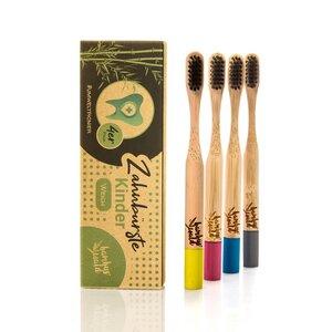 plastikfreie Zahnbürste für Kinder aus Bambus im 4er Set - Bambuswald