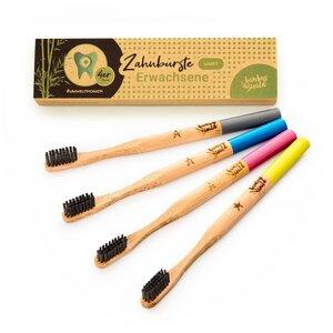 plastikfreie Zahnbürste aus Bambus im 4er Set - Bambuswald