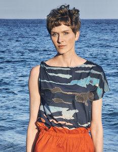 Top Sarah, Mare e Monti Blue - Damen Top aus Bio-Baumwolle - Sophia Schneider-Esleben