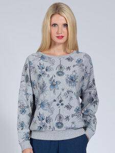 Yoga Sweater SOPHIA Floral aus weicher Biobaumwolle und Lyocell, Grau - Magadi