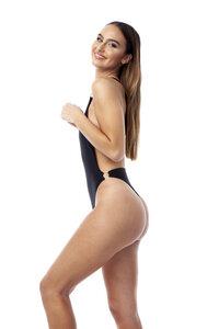 """Hochgeschnittener Badeanzug """"Lanasia"""" mit Rückenausschnitt und One-Shoulder Träger aus recyceltem Nylon - LANASIA"""