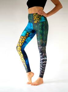 Yoga Leggings PFAU bunt - Arctic Flamingo