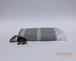 Hamamtuch Ibiza in Grau mit einem schönen Fischgrät Muster.  - Hamam Originals