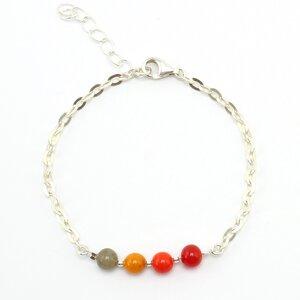 """Armband """"Querbeet"""", Fair-Trade-Silberkette und -Glasperlen - steinfarben"""