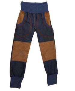 Mitwachs-Bio-Jeans darkblue mit camelfarbenen Cordflicken - Omilich