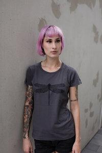 Frauen T-Shirt Libelle aus Biobaumwolle Made in Portugal dunkelgrau - ilovemixtapes
