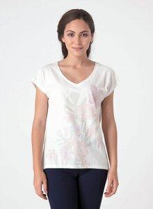 T-Shirt aus Bio-Baumwolle mit tiefem V-Ausschnitt und längerem Rückenteil - ORGANICATION