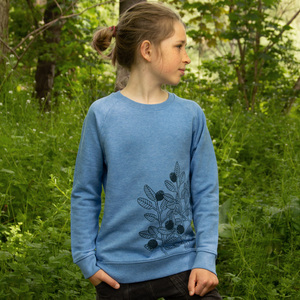 Blaubeer Pulli für Kinder in mid heather blue - Cmig