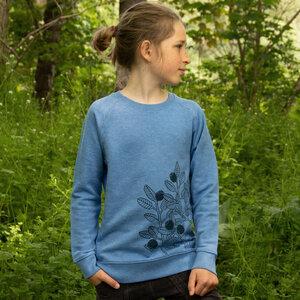 Blaubeer Pulli für Kinder in mid heather blue - Cmig