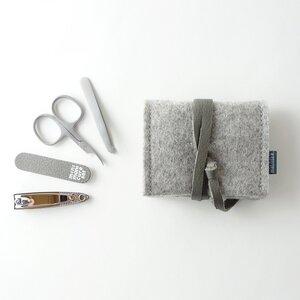 mini-maniküre-set 'jacob' aus Filz hellgrau - matilda k. manufaktur