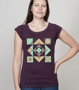 """Shirt Bamboo Raglan Shirt Women Aubergine """"Squared"""" - SILBERFISCHER"""