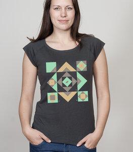 Shirt Bamboo Raglan Shirt Women Charcoal 'Squared' - SILBERFISCHER