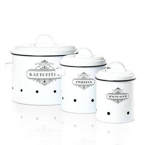 3er Set Aufbewahrungsboxen aus Metall - Vorratdosen Zwiebeltopf Kartoffeltopf Knochblauchtopf - Skojig