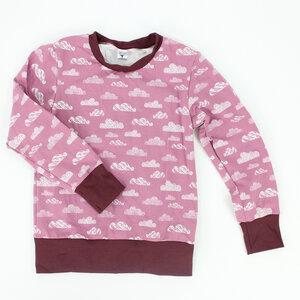 Kinder-Longsleeve rosa mit Wolken - fuxandfriends